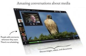 voicethread allows people to record and share thoughts about images and video.